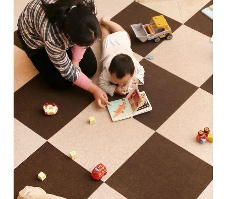 Image of 10 PCS Warm Self-adhesive Baby Puzzle Mat Play Mat Kids Interlocking Exercise Tiles Rugs Floor Toys Carpet Carpet Climbing Pad?5pcs coffee and 5pcs Beige ?