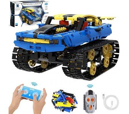 Image of STEM Building Toys RC Car, 572 Pcs Building Blocks Kit APP & 2.4Ghz Rechargeable Remote Control Vehicle, Science Learning Educational Engineering Toy Tracked Off-Road Racing Stunt RC Car/Tank/Robot