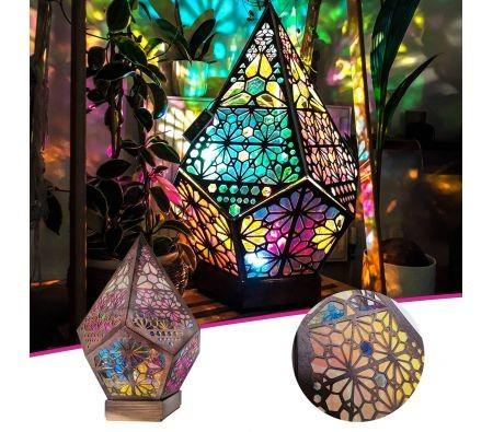 Image of LED Lights Bohemian Floor Projector Colorful 3D Projection Night Lamp Night Light Star Projector Lamp for Trendy Vintage Bedroom