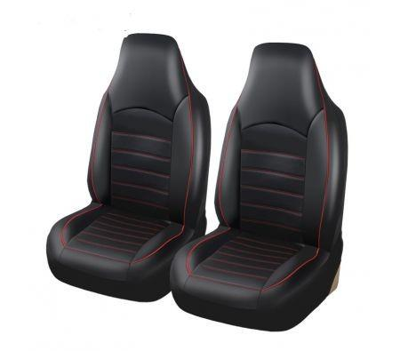 Image of Classic Universal PU Leather Car Front Seat Covers High Back Bucket Seat Cover - Fit Most Cars, Trucks, SUVS, or Vans 2 PCS Red Trim Auto Seat Covers Set Car Seat Protector for All Seasons