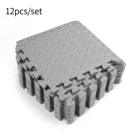 Image of 12PCS Gray Interlocking EVA Foam Floor Mat Tile Pack 30x30cm thickness 1.2cm