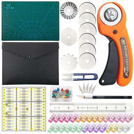 Image of 45 mm Rotary Cutter Set, Quilting Kit incl, A4 Cutting Mat ?8 Replacement Blades?Acrylic Ruler?with Storage Bag?Sewing Pins, Craft Knife Set