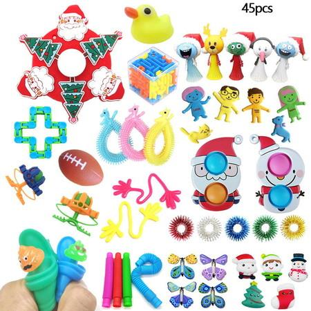 Image of 45pcs Fidget Toys SetStress Relief Anti-Anxiety Toys Assortment Christmas Santa Pop Bubbles Toy