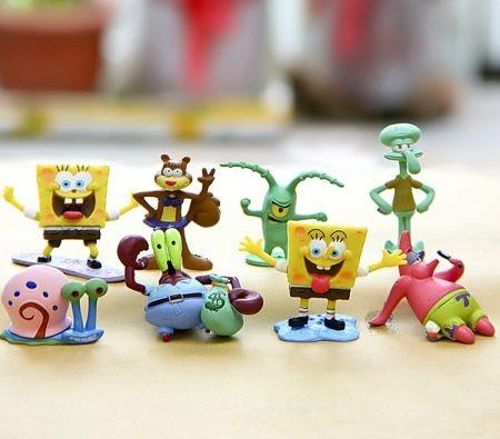 "Image of SpongeBob SquarePants 2"" Figure Set of 8 - ft. Squidward, Sandy Cheeks, Patrick Star, Mr. Krabs, Plankten - Perfect for Kids Birthday Cake Toppers"