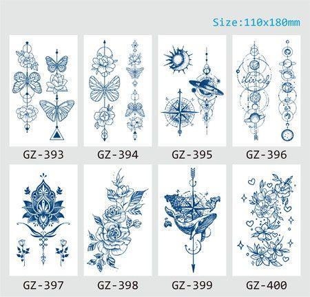 Image of 8p Semi Permanent Sleeve tattoos Full Arm Waterproof Long-Lasting 2-3 Weeks 11x18cm