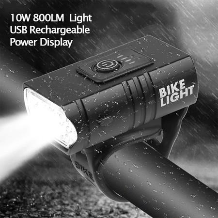 Image of LED Bicycle Light 10W 800LM USB Rechargeable Power Display MTB Mountain Road Bike Front Lamp Flashlight Cycling Accessories