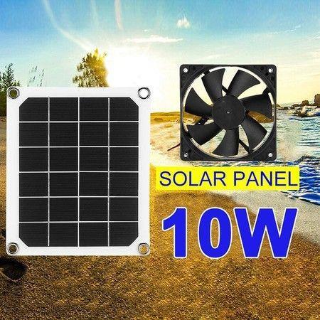Image of Solar Powered Fan Mini Ventilator 10W 12V Solar Exhaust Fan for RVs, Greenhouses, Pet Houses, Chicken House