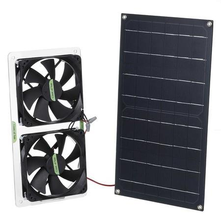 Image of Solar Powered Ventilator 100W 2x12V Fans for RVs, Greenhouses, Pet Houses, Chicken House