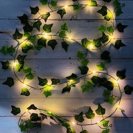 Image of Fairy lights with leaves, 20/100 LEDs ivy flower garland Fairy lights flexible copper for interior, bedroom, wedding, party decoration
