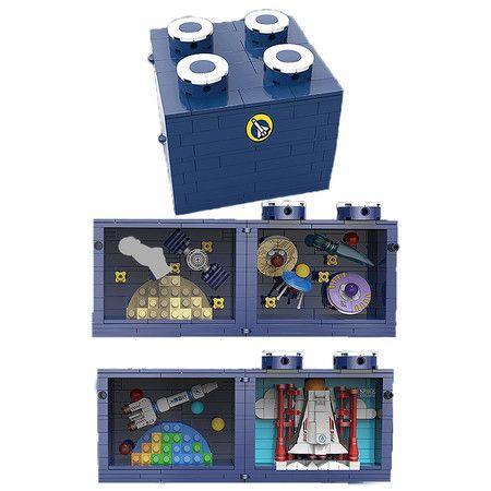 Image of New MOC Space Station Magic Box Model Bricks DIY Multi-Sided Opening Cosmic Rocket Scene Building Blocks Toys for Kids Gifts