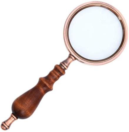 Image of 10X Vintage Handheld Copper Magnifying Glass with Wooden Handle Best Reading Magnifier for Collection Elderly Reading