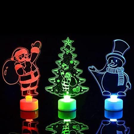 Image of 3Pack 3D Christmas 7 Colors Change Lamps, Acrylic Santa Claus Snowman Xmas Tree Figure LED Night Light for Decoration Christmas and Birthday Gifts