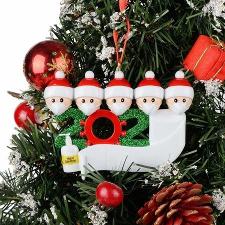 Image of 2020 Christmas Tree Hanging Ornament Kit Personalized 5 Family Members Names Decoration
