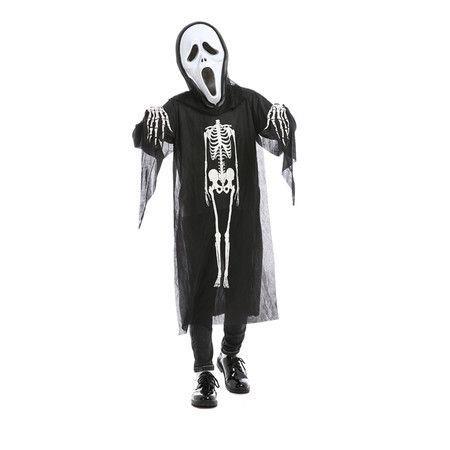 Image of Adult Children Children Cosplay Ghost Horrible Halloween Carnival Masquerade Costumes Vests Skeleton Dress Skull Demon Scary Mask