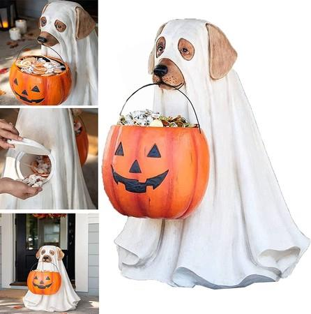 Image of Ghost Dog Candy Bowl Holder with Life Size, Trick Or Treat Indoor Outdoor Halloween Party Decorations Gifts