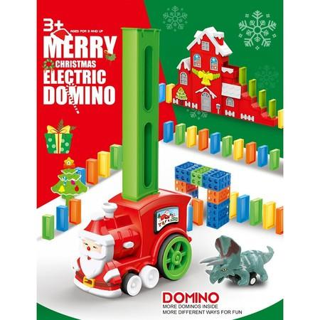 Image of 2021 Newest Xmas Toy set for toy domino train, 120 pieces, brick game, small electric train tail, christmas gift for children