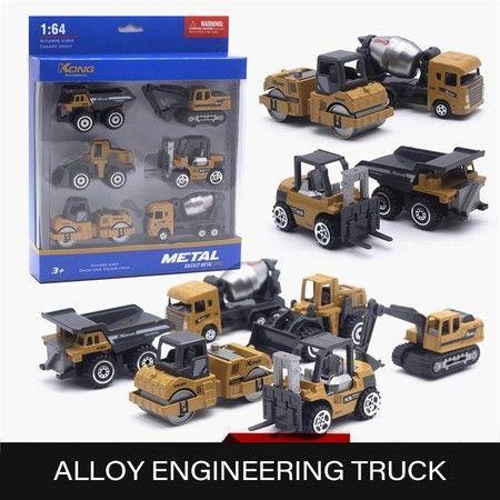 Image of 1:64 Kids Diecast Engineering Toy Vehicle Alloy Car Model Excavator Bulldozer Forklift Dump Truck Mixer 6pcs Mini Truck Toys