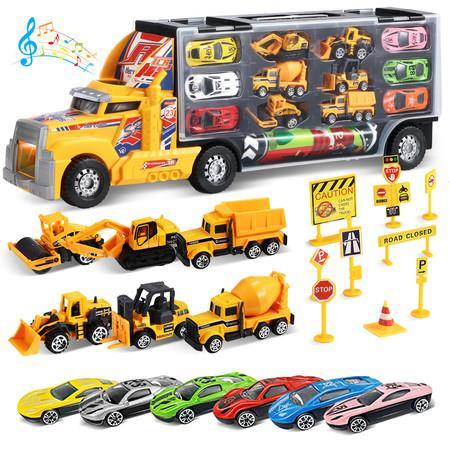 Image of 23In1 Die Cast Slide Construction Truck Toy Race Car Game Rug Road Signs with Light and Music