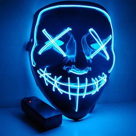 Image of LED LIGHT Scary Halloween Mask Festival Cosplay Costume Masquerade Col.blue