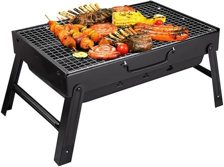 Image of Portable Charcoal Grill, Charcoal BBQ Grill for Camping Picnic,Indoor and Outdoor Charcoal Grill with Smoker Charcoal Grill