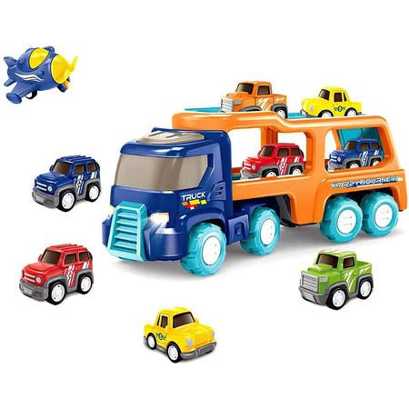Image of Transport Car Carrier Truck Toy with 4 Cute Pull Back Truck, Colorful Assorted Vehicles Playset for Boys Toddler