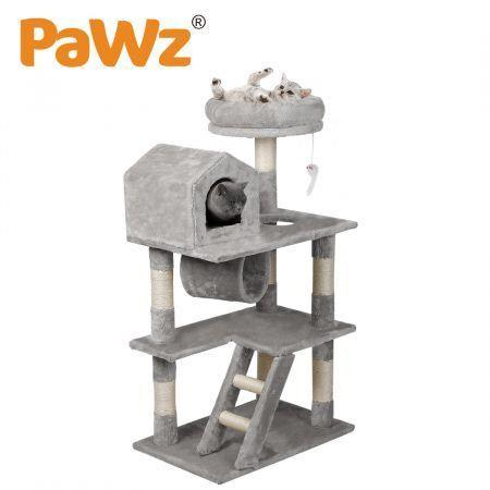Image of PaWz Cat Tree Scratching Post Scratcher Tower Condo House Furniture Grey 110cm
