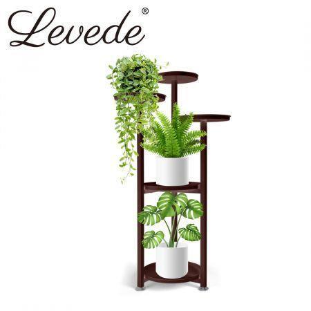 Image of Levede Plant Stand Outdoor Indoor Flower Pots Rack Garden Shelf Black 100CM