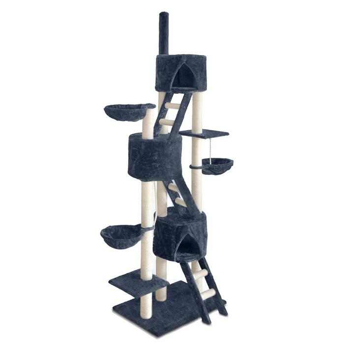 Multi Level Cat Sisal Scratching Tree with Ladder, Hidey Holes & Platforms - 244cm Grey