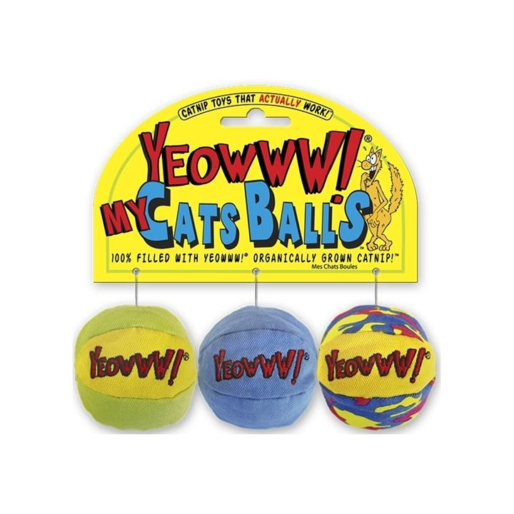 Yeowww 3-Pack Catnip Balls Cat Toys - Filled with Organic American Catnip