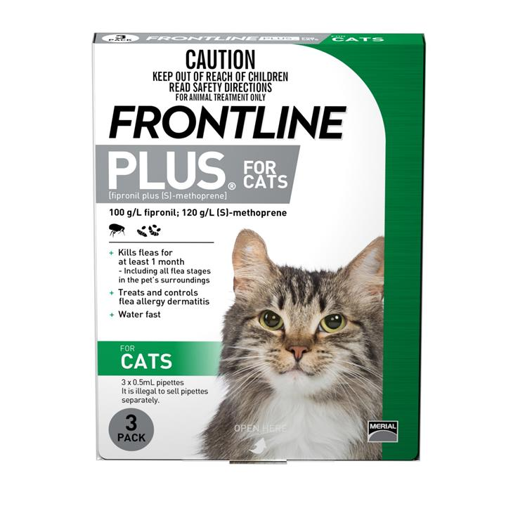 Frontline Plus Flea and Biting Lice Control for Cats 3 pack