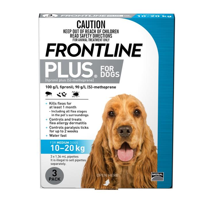 Frontline Plus Flea & Tick Protection for Dogs 10-20kg - 3 Pack
