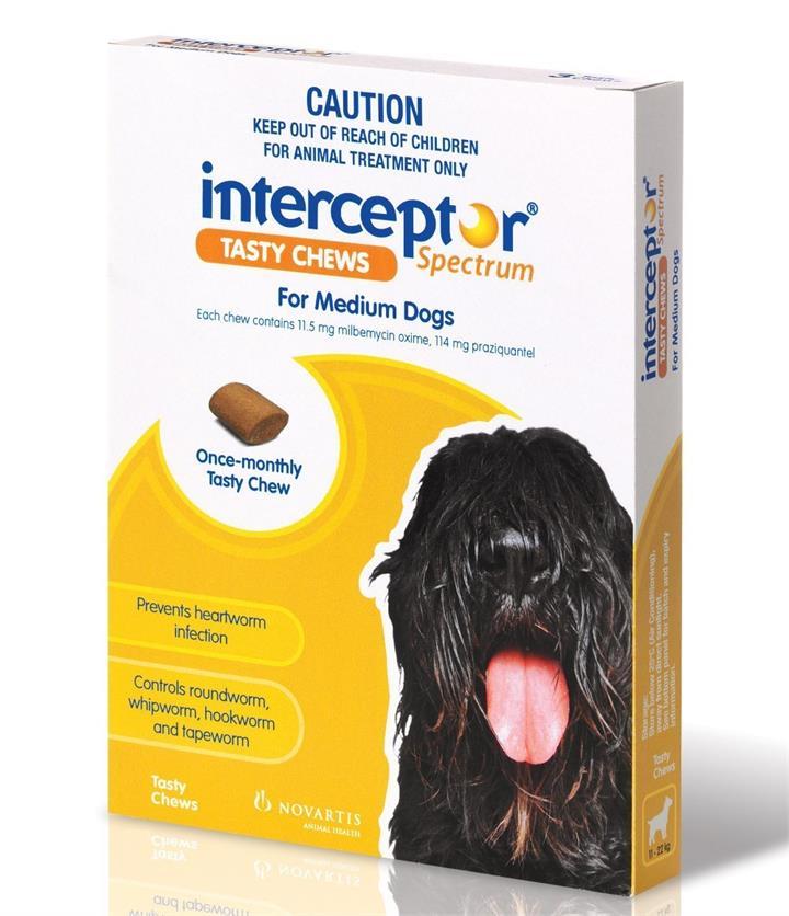 Interceptor Chewable Wormer - Yellow 3 Pack for Medium Dog 11-22kg
