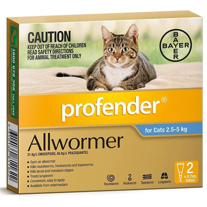 Profender Spot-on Intestinal Allwormer for Cats 2.5kg to 5kg - Blue 2-Pack
