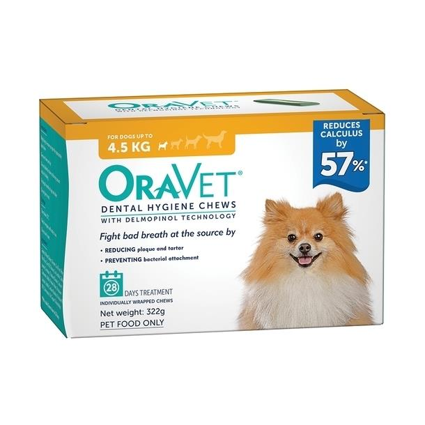 Oravet Plaque & Tartar Control Chews for Extra Small Dogs up to 4.5kg - 28-pack