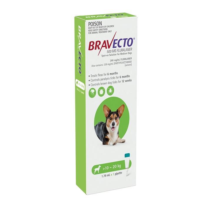 Bravecto Spot-on Flea & Tick Treatment for Dogs 10-20kg