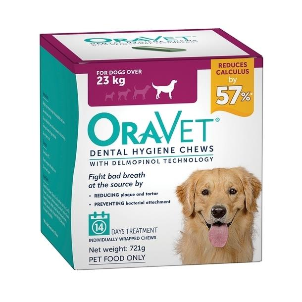 Oravet Plaque & Tartar Control Chews for Large Dogs over 23kg - 14 Chews