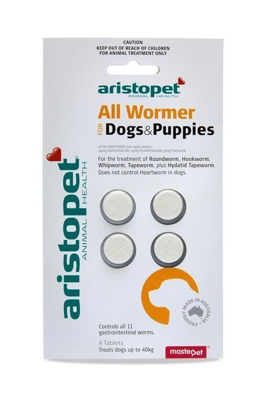 Aristopet Intestinal All Wormer Tablets for Puppies and Small Dogs - 4 Pack