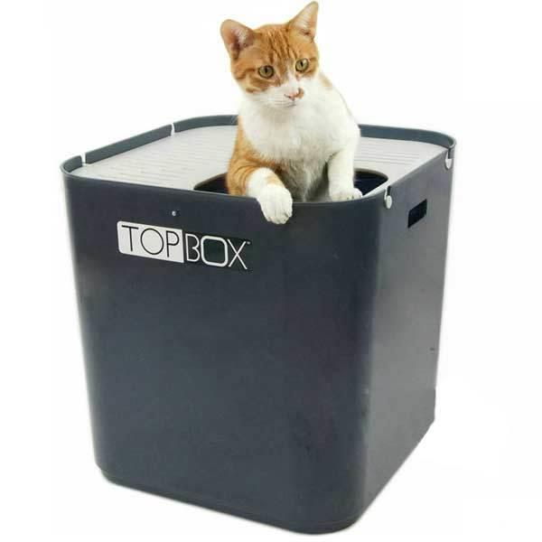 SmartCat The Ultimate Topbox Top Entry Cat Litter Tray with Scoop - Gray