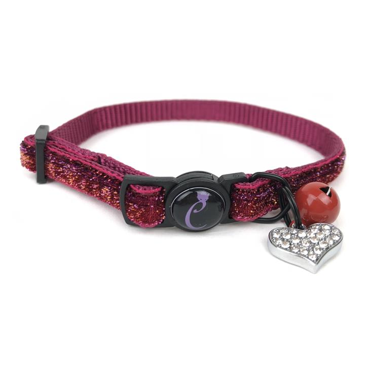 Cattitude Ruby Sparkle Cat Collar with Breakaway Safety Clip, Bell & Diamante Heart