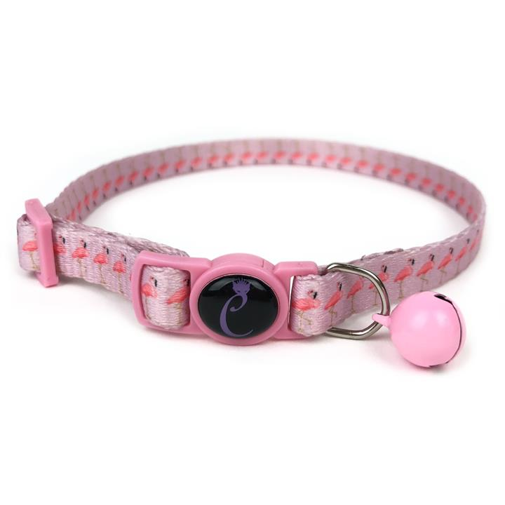 Cattitude Cat Collar with Breakaway Safety Clip & Bell - Flamingo