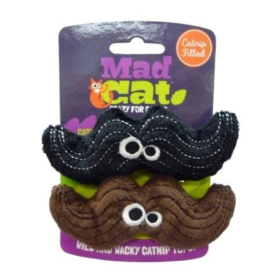 Mad Cat Meowstache Catnip & Silverine Cat Toy - Twin pack