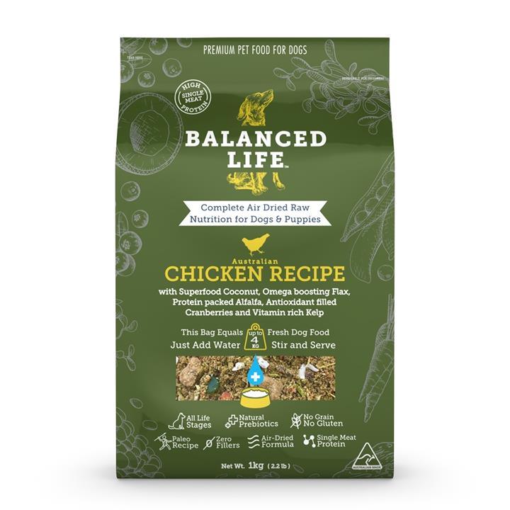 Balanced Life Air Dried Single Protein Dog Food - Chicken 1kg
