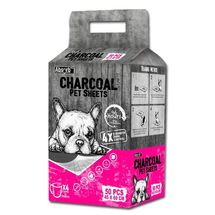 Absorb Plus - Charcoal Pet Sheets - Medium - 50 Sheets (Pink Pack)