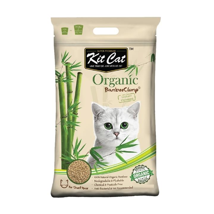 Kit Cat Flushable Biodegradable Clumping Bamboo Litter for Short Haired Cats - 9 Litres/3kg
