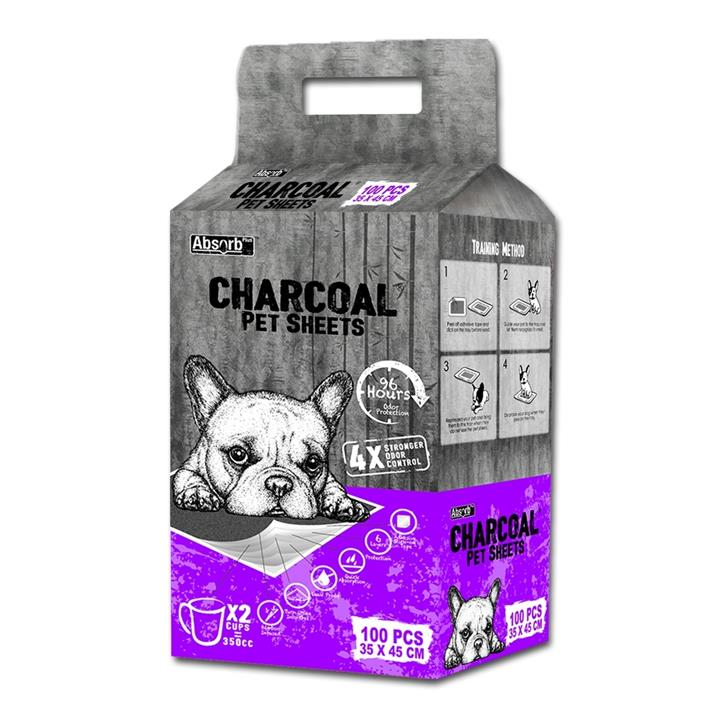 Absorb Plus - Charcoal Pet Sheets - Small x 100-pack (purple pack)