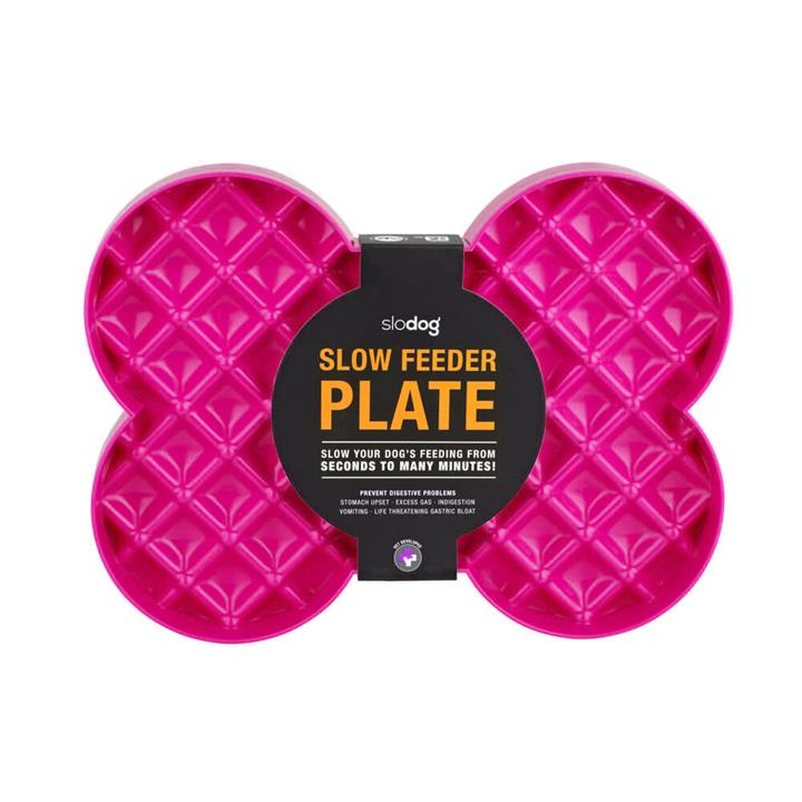 SloDog No Gulp Bone-Shaped Slow Food Plate for Cats & Dogs - Pink