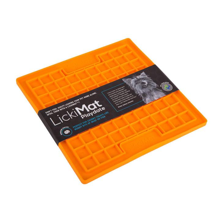 Lickimat Playdate Original Slow Food Licking Mat for Dogs - Orange