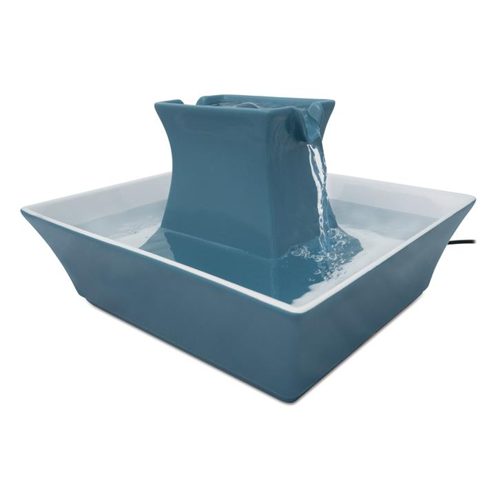 Drinkwell Stoneware Pagoda Ceramic Water Fountain 2 litres -Himalayan Blue