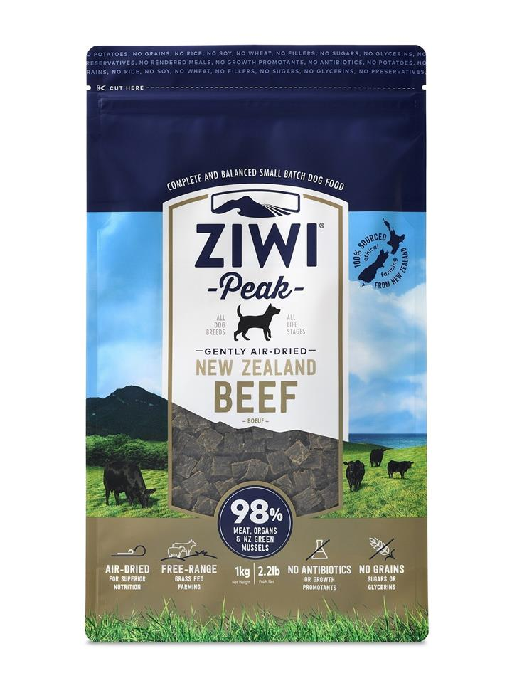Ziwi Peak Air Dired Dog Food 1kg Pouch - Free Range Beef