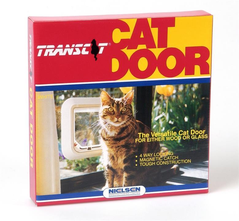 Transcat Pet Door Cat Flap for Doors, Walls & Glass - White - 4 Way Lock
